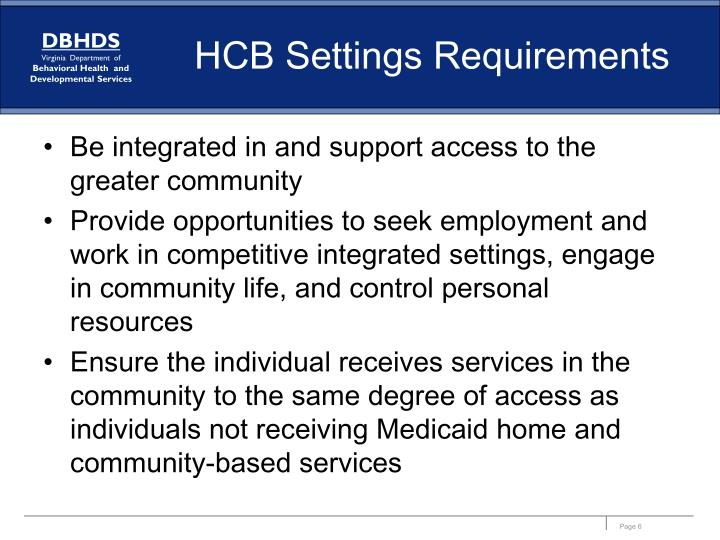 HCB Settings Requirements