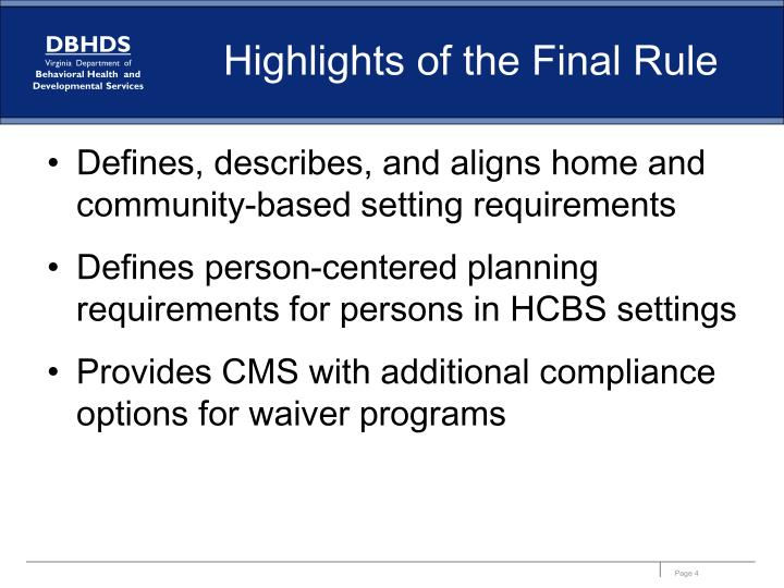Highlights of the Final Rule