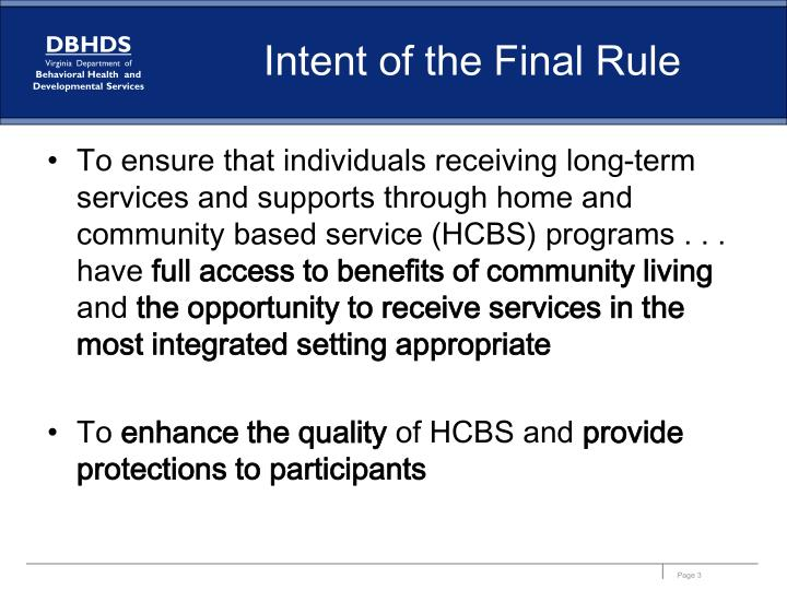 Intent of the final rule