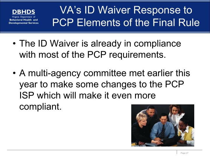 VA's ID Waiver Response to PCP Elements of the Final Rule
