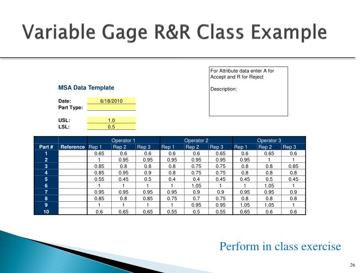 Variable Gage R&R Class Example