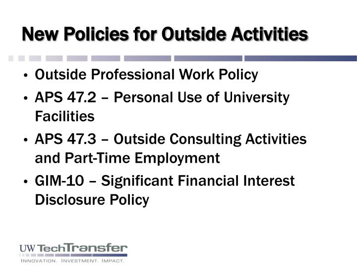 New Policies for Outside Activities