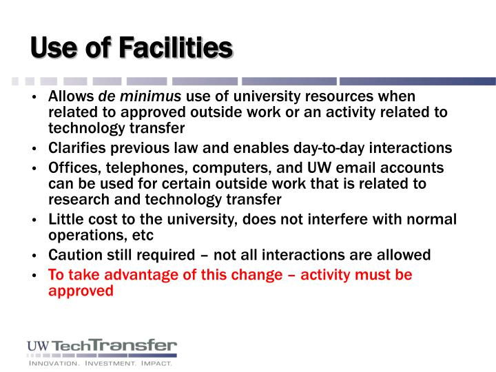 Use of Facilities