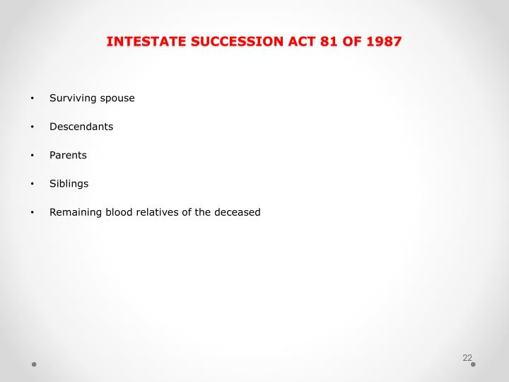 INTESTATE SUCCESSION ACT 81 OF 1987