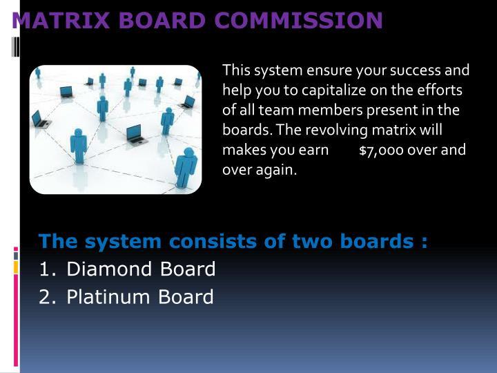 MATRIX BOARD COMMISSION