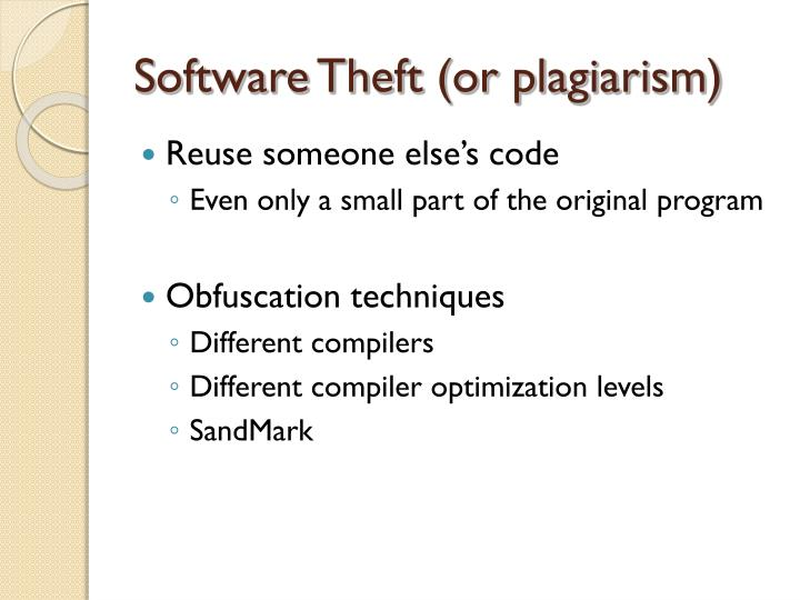 Software theft or plagiarism