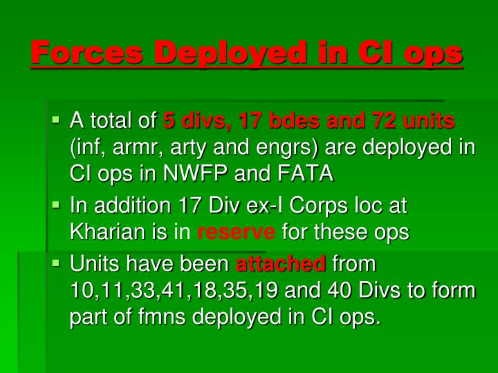 Forces Deployed in CI ops