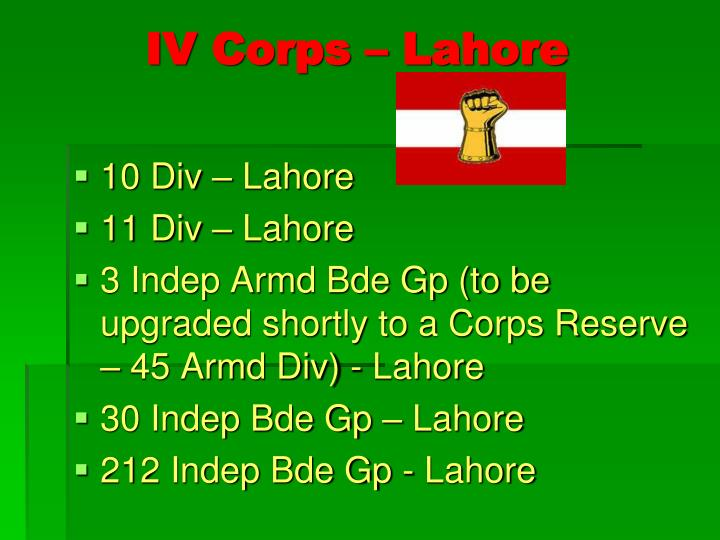 IV Corps – Lahore
