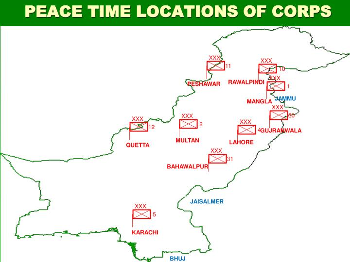 Peace time locations of corps