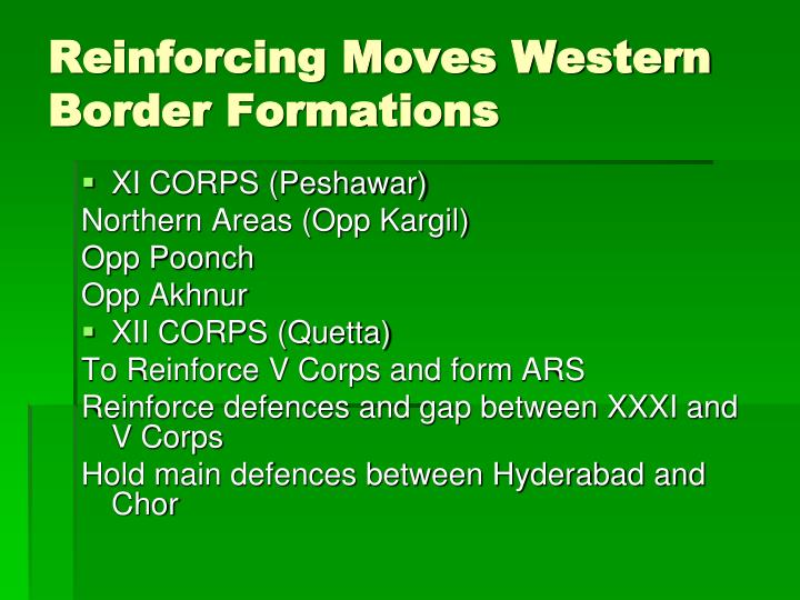 Reinforcing Moves Western Border Formations