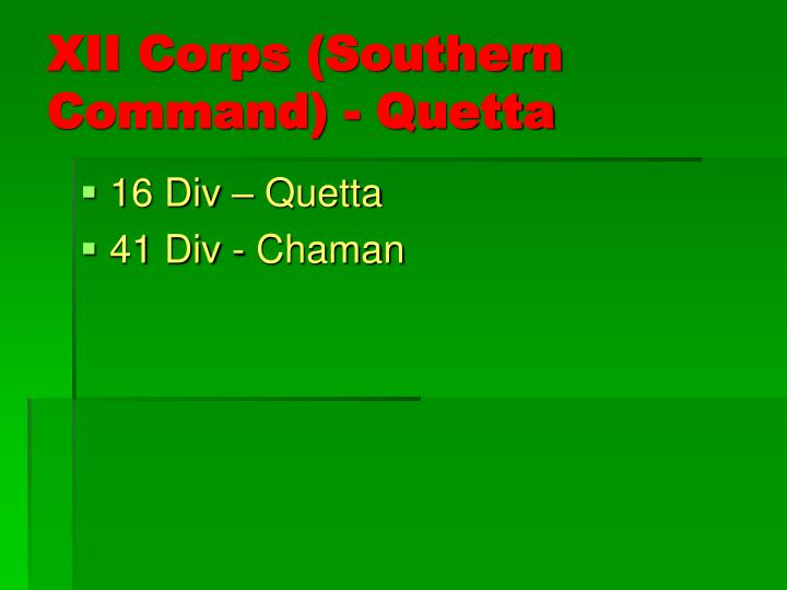 XII Corps (Southern Command) - Quetta