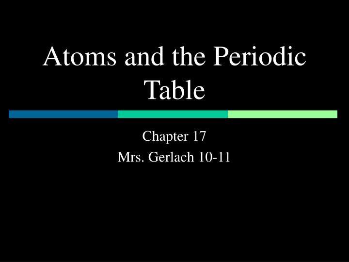 atoms and the periodic table n.