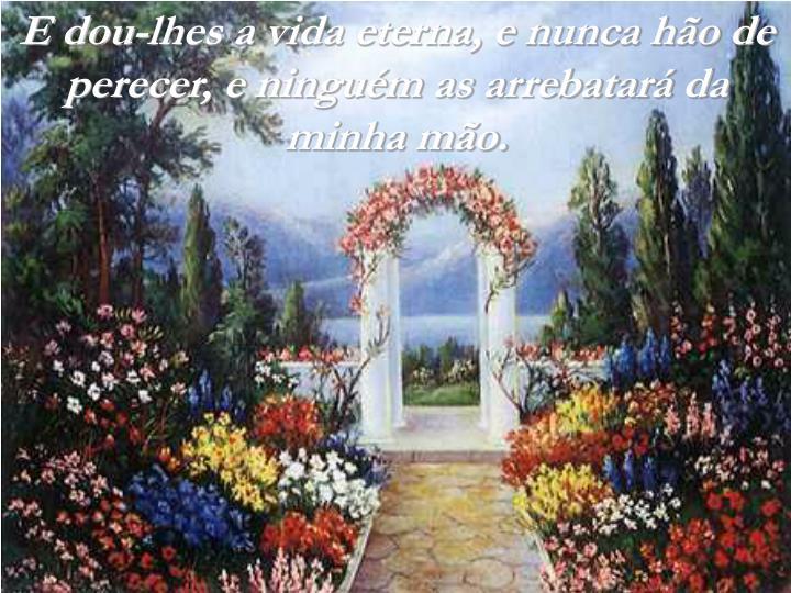 E dou-lhes a vida eterna, e nunca hão de perecer, e ninguém as arrebatará da minha mão.