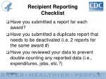 recipient reporting checklist2