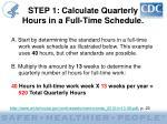 step 1 calculate quarterly hours in a full time schedule