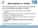 sub recipient vs vendor