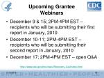 upcoming grantee webinars
