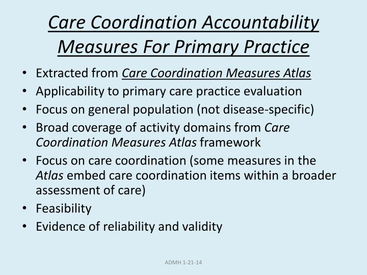Care Coordination Accountability Measures For Primary Practice