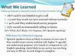 what we learned follow up evaluation questions asked to families by parent callers