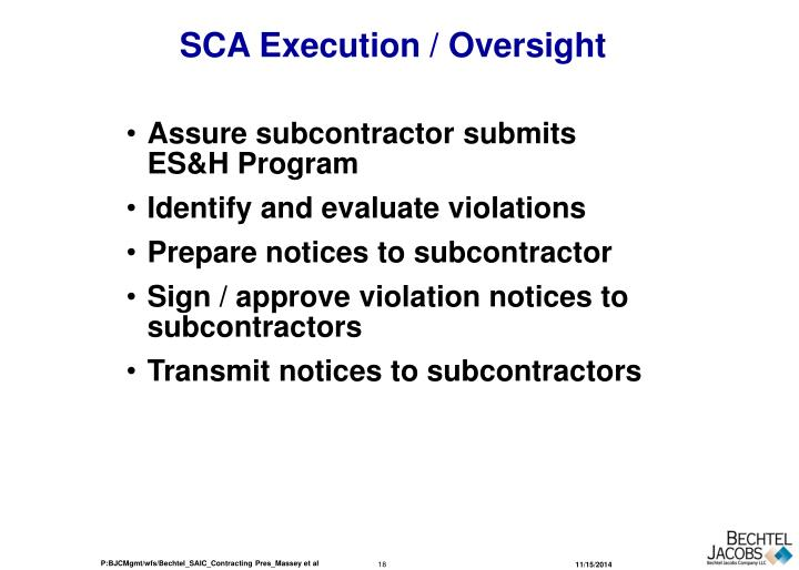 SCA Execution / Oversight