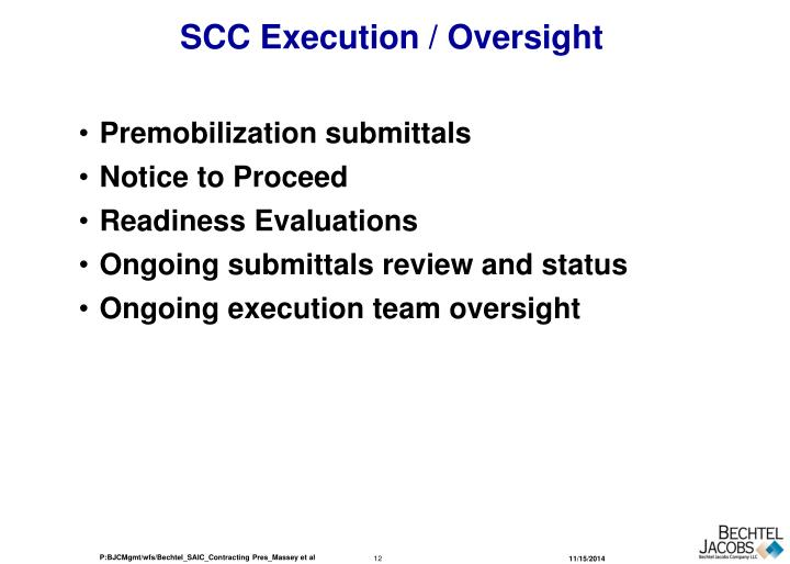 SCC Execution / Oversight