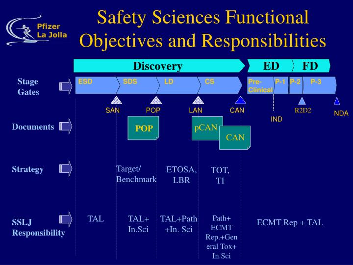 Safety sciences functional objectives and responsibilities