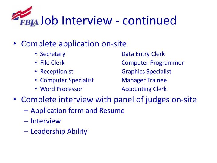 Job Interview - continued