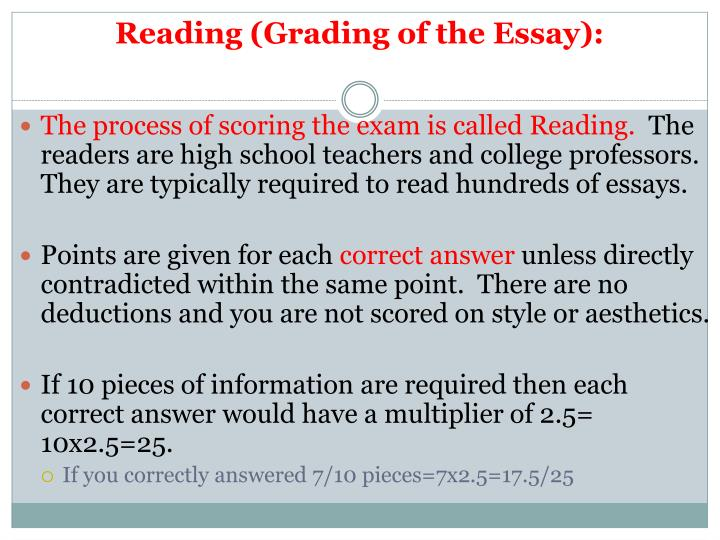 Reading (Grading of the Essay):