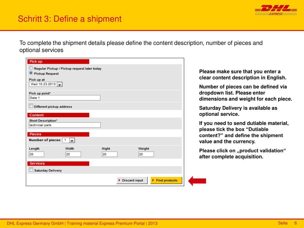 PPT - DHL Express Premium Portal Training material