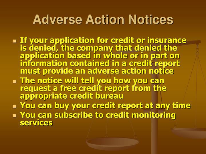 Adverse Action Notices