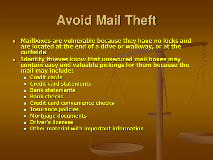 Avoid Mail Theft