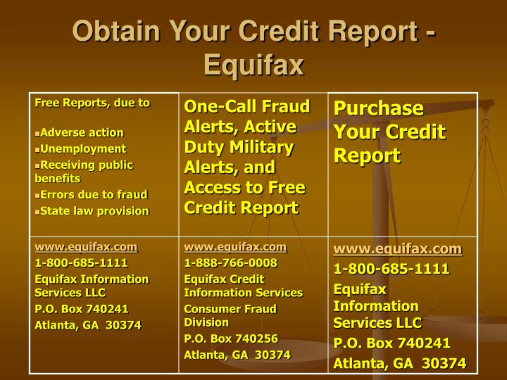 Obtain Your Credit Report - Equifax