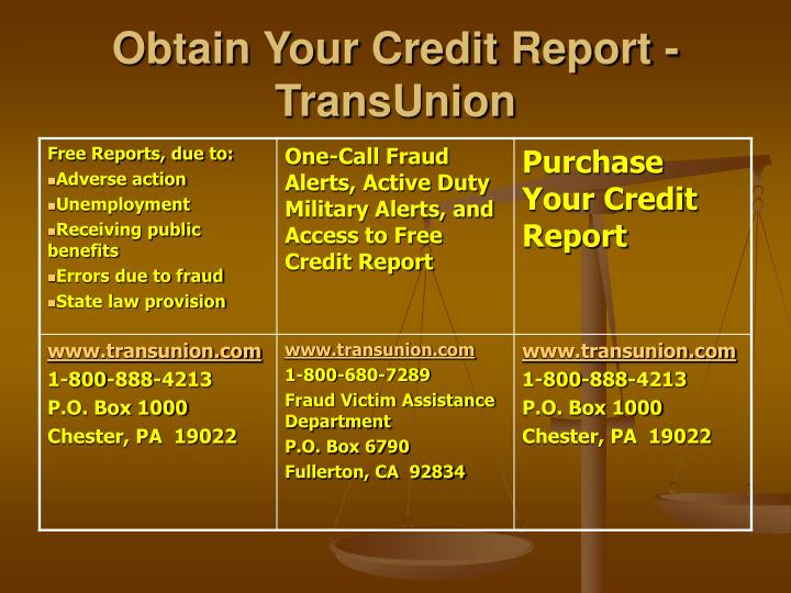 Obtain Your Credit Report - TransUnion