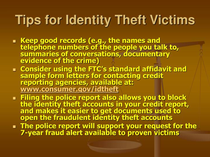 Tips for Identity Theft Victims