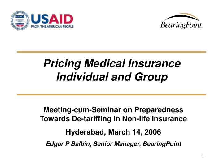 pricing medical insurance individual and group n.