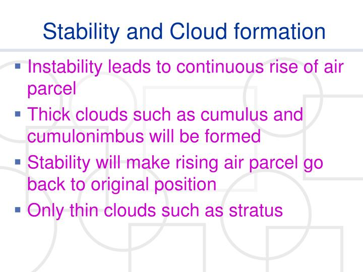 Stability and Cloud formation