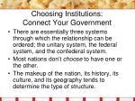 choosing institutions connect your government