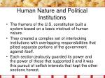human nature and political institutions1