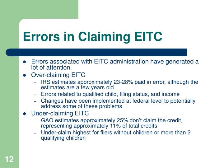 Errors in Claiming EITC