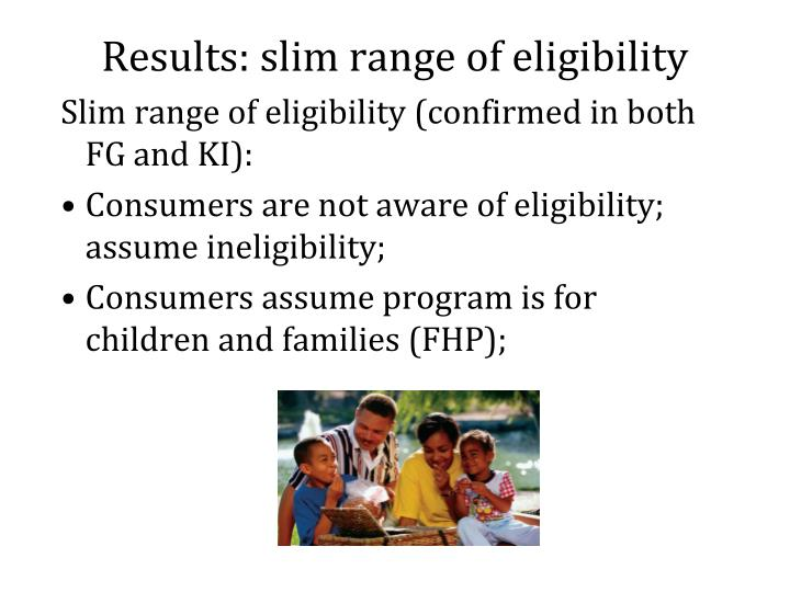 Results: slim range of eligibility
