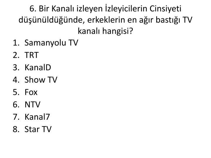 6. Bir Kanalı izleyen İzleyicilerin Cinsiyeti düşünüldüğünde, erkeklerin en ağır bastığı TV kanalı hangisi?