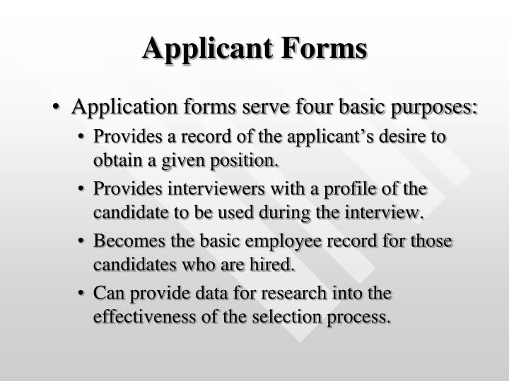 Applicant Forms