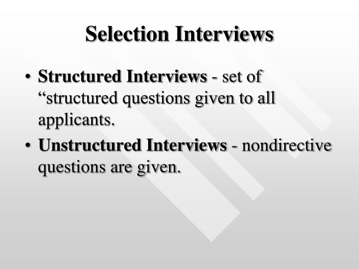 Selection Interviews