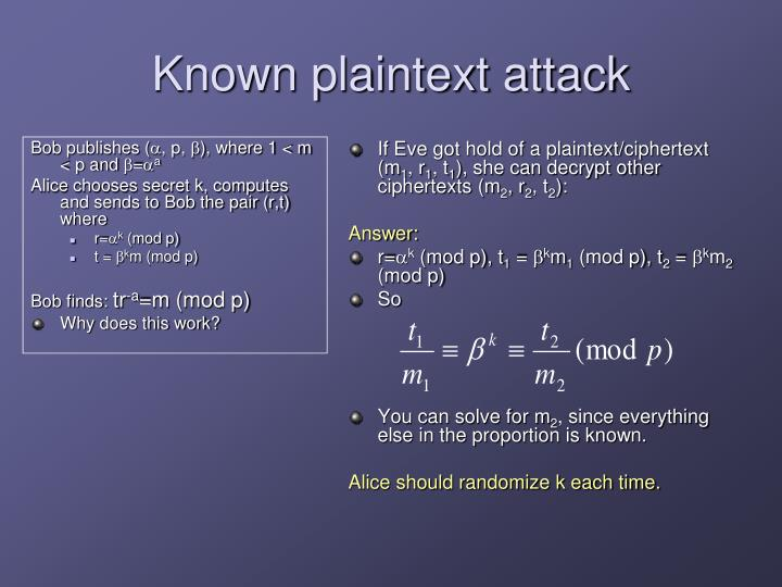 Known plaintext attack