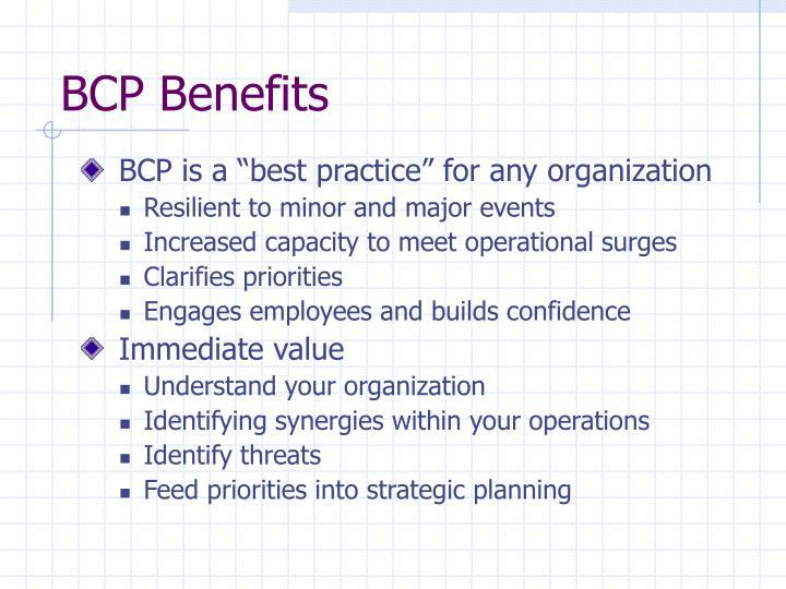 BCP Benefits