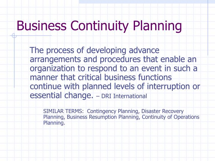 Business continuity planning1