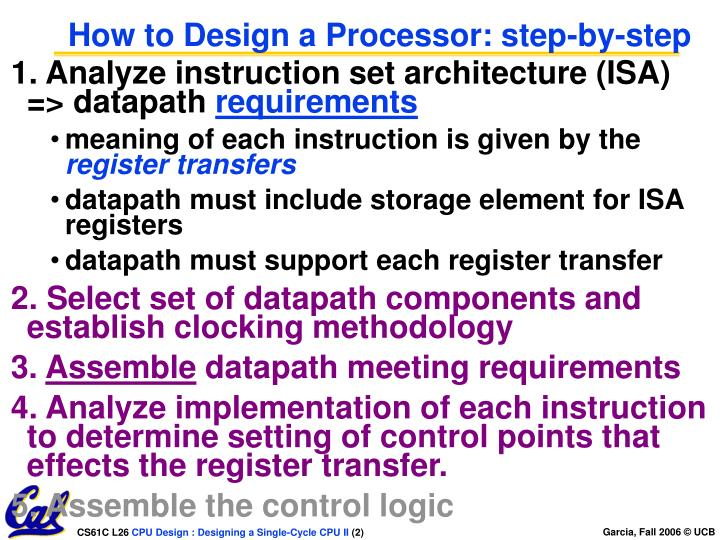 How to design a processor step by step