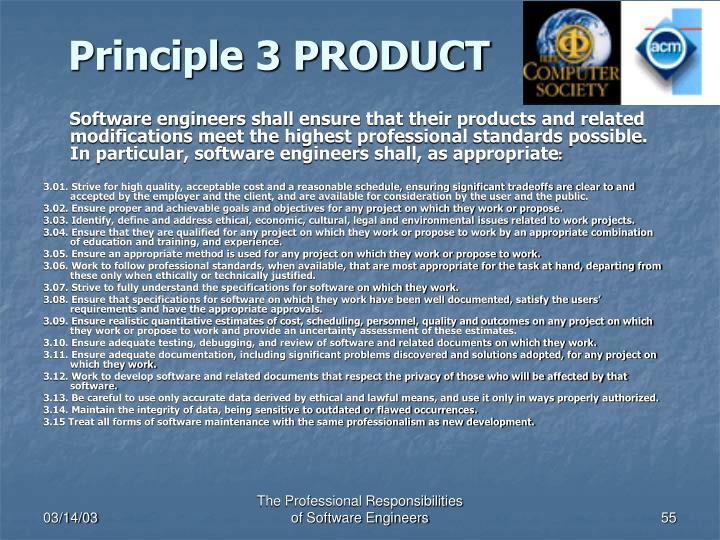 Principle 3 PRODUCT