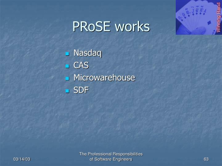 PRoSE works
