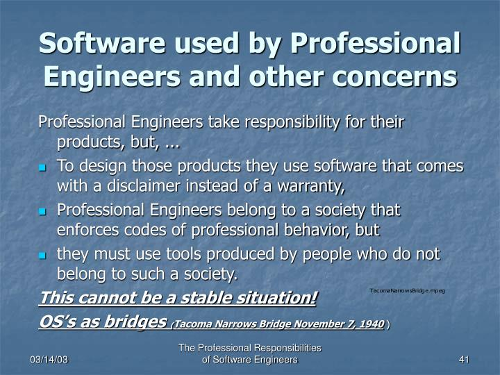 Software used by Professional Engineers and other concerns